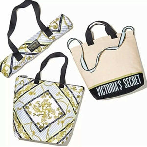 3pc Set Canvas Tote Cooler Tote Beach Blanket NEW